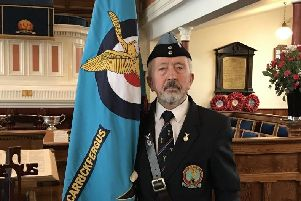 Carrickfergus branch standard bearer Joe Corr.