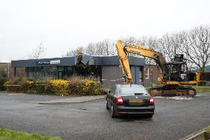 Substantial damage was caused to the bank during the ATM theft. Photograph by Declan Roughan.