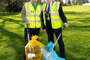 At the Big Spring Clean launch are - Ian Humphreys Chief Executive of Keep Northern Ireland Beautiful and Paul Michael Mayor of Antrim and Newtownabbey Borough Council