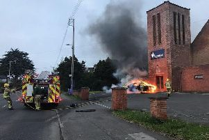 A car was set on fire at Greenisland Presbyterian Church.
