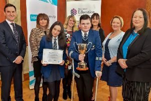 Principal, M�ire Thompson, attended the event alongside Year 10 students Drusilla Larkin and Lee McCoy and other staff members to receive the award from Permanent Secretary Mr Derek Baker.