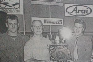 Frank Corrigan accepts an award on behalf of the Enkalon Club for their support towards the Clubman's Series over the years. The award was presented by the 1997 Champions. 1997