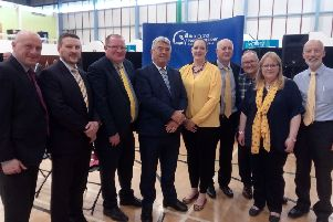 Alliance party figures (titles correct at time of picture) MLA John Blair, Julian McGrath (councillor), Neil Kelly (councillor), Billy Webb (councillor), Vikki McAuley (council candidate), Paul Campbell (councillor), Gary English (council candidate), Julie Gilmour (council candidate), David Ford (ex-leader)
