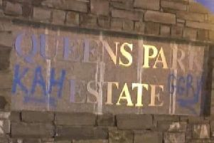 Graffiti painted at the entrance to the estate has been removed.