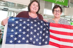 Siofra McClure, a Customer and People Trading Manager at Asda Ballyclare, is pictured with Asda Ballyclare General Store Manager, Mary Magill, ahead of a once-in-a-lifetime trip to the Shareholders Conference of Walmart