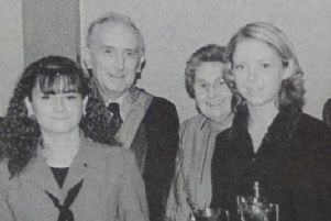 Shelly Crawford and Lynsey McWatters receive top A Level Prizes from Rev and Mrs Brown and Mr and Mrs Raymond King at Monkstown Community School prizegiving. 1997
