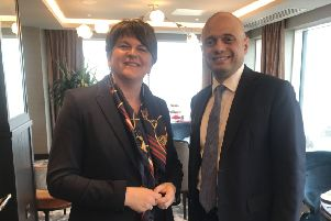 Arlene Foster with Home Secretary Sajid Javid in Belfast, 30-05-19