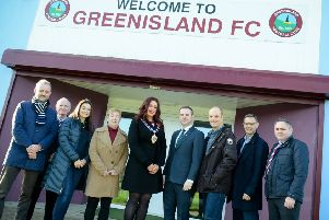Guests at the ceremony to mark the start of work on Greenisland's new 3G pitch in November of last year.