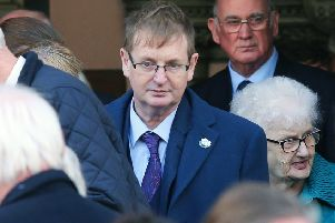 Willie Frazer at the 25th Shankill Bomb memorial service at West Kirk Presbyterian Church on the Shankill Road in 2018. Photo: Jonathan Porter/PressEye
