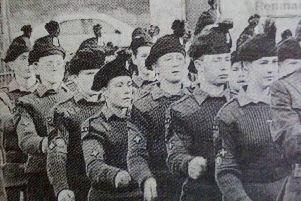 Members of the Army Cadet Force on the mark at the Force's anniversary parade in Ballyclare. 1989.