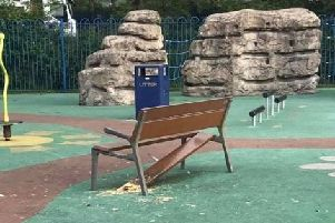 The council was alerted to a report of vandalism at Six Mile Water Play Park on Wednesday, July 3. Contributed pic.