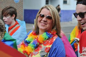 Lisa Forbes at the Peterborough Pride march