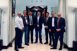From left, Dennis Ledbrooke, Buckingham Swimming Pools, Paul Mason, Buckingham'Swimming Pools, Robert Hefford, Buckingham Swimming Pools, Paul Walton-Collett, Buckingham'Swimming Pools, Nathan Lapsley of(Wright Hassall, Sean Byrne, Band Hatton Button, and Martin'Gibb, Dafferns.