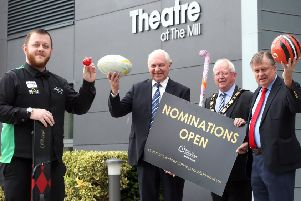 Mayor of Antrim and Newtownabbey, Ald John Smyth is pictured with Mark Allen, Jim Shaw (Chair of the Sports Awards Committee) and  Ald Fraser Agnew (Vice Chair of the Sports Awards Committee) to launch the opening of the 2019 Sports Awards nominations