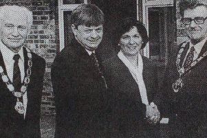 Pictured at the opening of the new Corr's Corner Hotel are Ald Jim Rooney and his wife,  Catherine and Eugene McKeever (owners), Alderman Edward Crilly and his wife.'1997