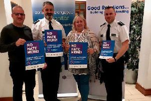 Councillor Paul Dunlop, Chairperson of Antrim and Newtownabbey PCSP pictured with PCSP and PSNI at the launch of the No Hate Here campaign