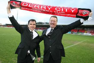 Pat Fenlon pictured with ex-Derry City Chief Executive, Jim Roddy - who was part of Platinum One's ambitious All Ireland League plans back in 2008 - when appointed Derry City manager.