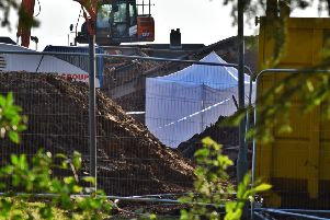 Police have set up a forensic tent on a building site at the former Catherine Dalley House nursing home in Melton'PHOTO TIM WILLIAMS EMN-191018-104739001
