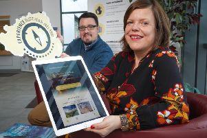 Kelli Bagchus, manager of Carrickfergus Enterprise with Alan Hamilton, business support executive. Photo by Aaron McCracken.