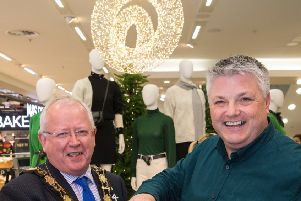 Mayor of Antrim and Newtownabbey Borough Council, Ald John Smyth alongside M&S Abbey Centre Store Manager, Colin McGreevy.