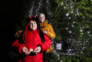 Ruby and Hollie Philips at the NI Hospice Christmas tree.