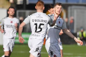 Jamie McGonigle kicked off the weekend scoring for Crusaders against Carrick Rangers. Pic by INPHO.
