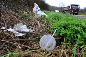 Litter along the A283 between the flyover roundabout and the cement works