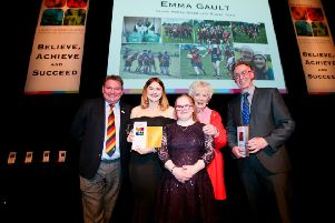 Mrs Joan Christie CVO OBE, Paul Dinsmore (Antrim Youth Information and Counselling Centre) with Emma Gault Young Volunteer (Clare Hares Disability Rugby Team) Sarah Gilmore and Ballyclare Rugby Club President Clifford Gilmore receiving their bursary awards.