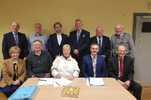 Chairperson Barbara Gilliland (centre) with guest speaker Robbie Butler MLA (centre-right), Vice-Chairperson Alex Caldwell (centre-left) and members of the East Antrim UUP Association Management Committee.