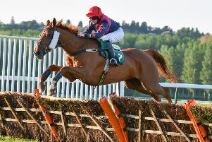 Jockey Vicky Wade in full flow with Gentleman Farmer en route to victory in the 2m 3f handicap hurdle at Towcester on Monday evening (Picture: David Yanez)