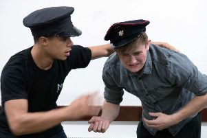 The actors in rehearsals
