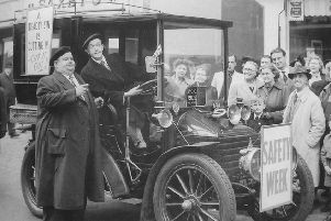 Laurel and Hardy in Northampton in 1953