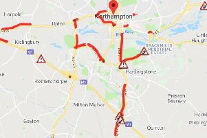 Long delays around Northampton this morning (AA Travel)