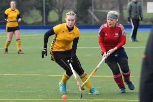 Horncastle Hockey Club, Ladies first team (yellow) v City of Peterborough 3s. Izzy Williams. v City of Peterborough 3s. Lottie Hopwood.
