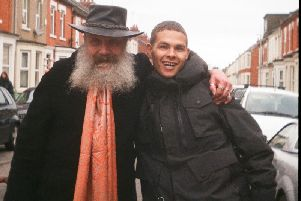 Watchmen and V for Vendetta author Moore with rising local rapper slowthai. Ben Brook / Crack Magazine