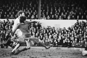 George Best in action for Manchester United in their 8-2 win over the Cobblers at the County Ground in 1970. The heavy loss is club historian Frank Grande's favourite game from watching Town for the past 60 years (Picture: Getty Images)
