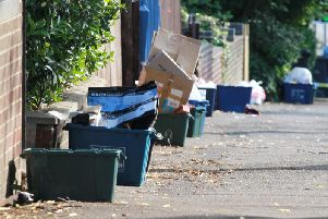 The recycling containers will be replaced by clear sacks at some Far Cotton homes as part of a trial by Northampton Borough Council. Picture by Georgi Mabee