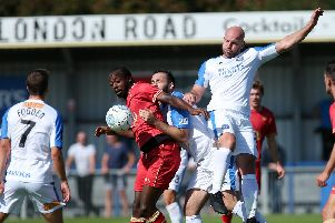 Hawks Mike Carter in action against Hartlepool United back in September  Picture: Chris Moorhouse