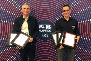 Kirby Bennett and Mike Twelves at the British Cycling Awards