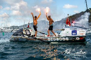 Peter Netley from Denmead and Neil Young, from Bracknell, Berkshire arrive at the Nelson's Dockyard English Harbour in Antigua - completing the 2018 Talisker Whisky Atlantic Challenge. Picture: Ted Martin