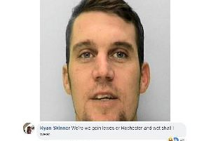 Wanted man Ryan Skinner responded to police's invitation for a Valentine's date