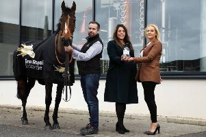 Marking a major three-year partnership deal between Down Royal Racecourse and Shortcross Gin are (from left) David and Fiona Boyd-Armstrong, Founders of Shortcross Gin, Emma Meehan, Chief Executive of Down Royal Racecourse, along with racehorse Killultagh Getaway North owned by Fiona's mother, Rose Boyd and George Creighton.