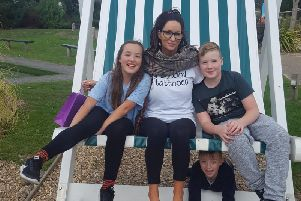 From left: Tiggy, 10, Jacqueline, Aston, 6 (below) and Leon, 10