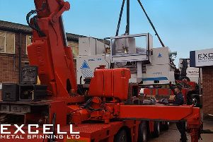 CNC Leifield Metal Spinning Lathe being installed at Excell Metal Spinning in Portsmouth