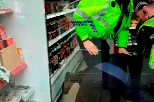 The officers were videoed kneeing Geoff more than six times before they cuffed him.