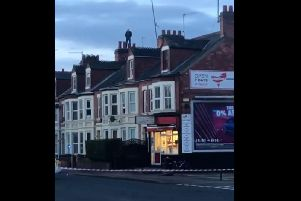 A man was seen on the roofs of houses in London Road this morning