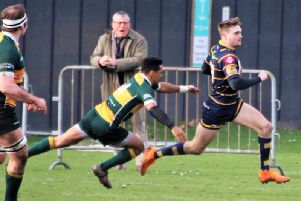 Curtis Barnes grabbed a hat-trick of tries in Worthing Raiders' defeat at Barnes. Picture: Colin Coulson