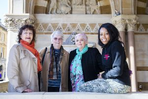 Pictured l-r on the Guildhall steps on Saturday: Rachel Mallows, Daphne Robinson, Cathy Goldsmith and Lorraine Lewis. Picture by Kirsty Edmonds.