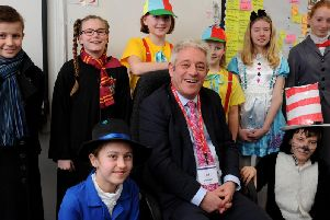 John Bercow with year six students at Winslow C of E Combined School