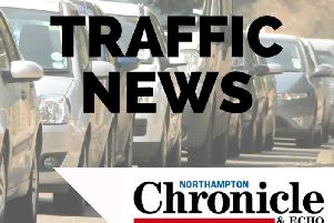 Traffic delays of up to half an hour have been reported on the A45 towards Riverside.